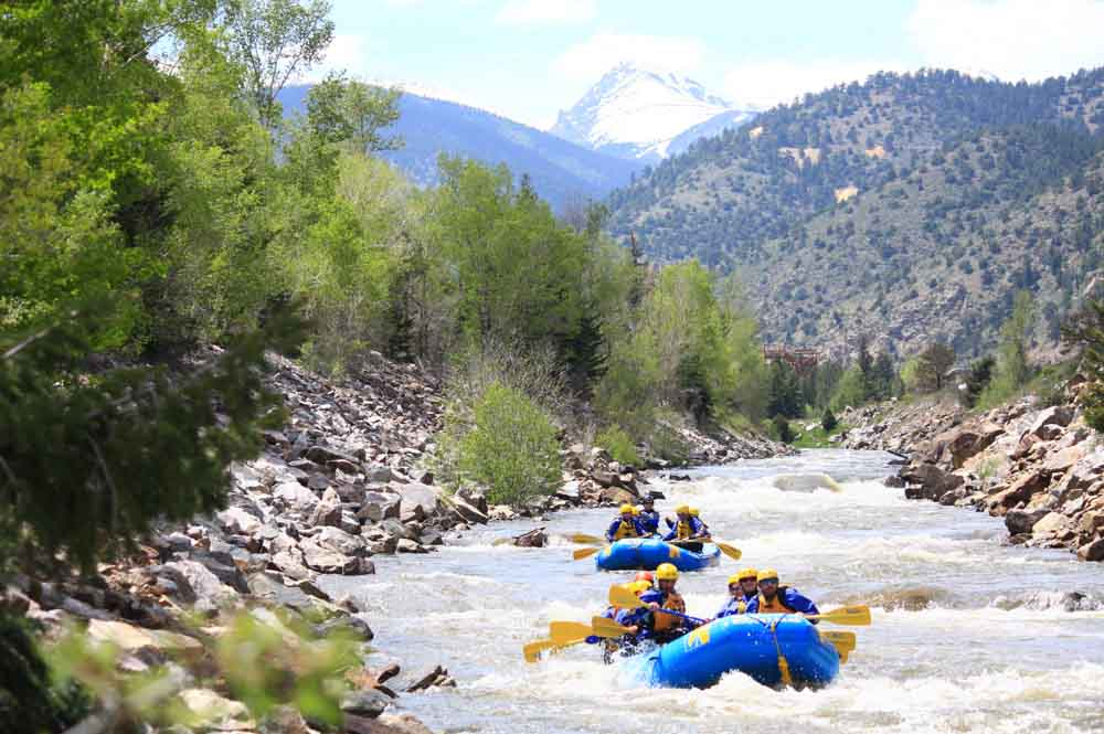 A group rafting on a guided rafting trip in colorado