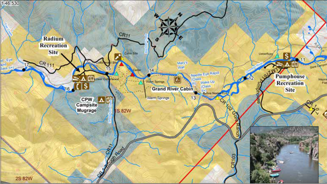 Upper Colorado River Rafting Map: Pumphouse to Radium Map