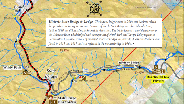Upper Colorado River Rafting Map: Rancho del Rio to State Bridge Map CII 4 miles : 1.5 hours