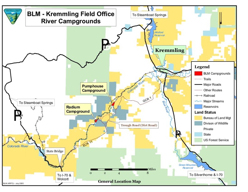Map of Upper Colorado River Campsites: Pumhouse Campground and Boat Launch and Radium Campground and boat Launch