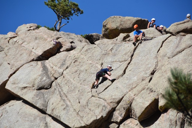 Beginner Climber climbing in Boulder Canyon
