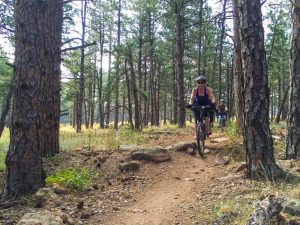 women mountain biking in the woods