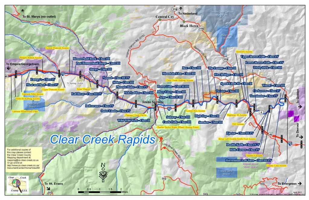 Clear Creek River Rafting Map