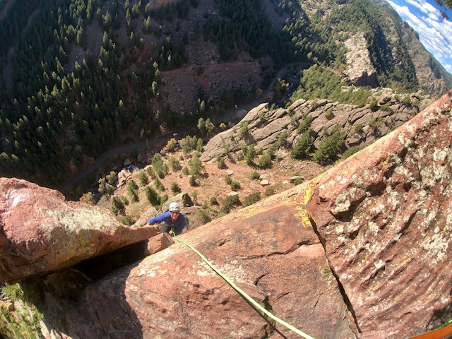 Ruper pitch 3 climbing in Eldorado Canyon State Park