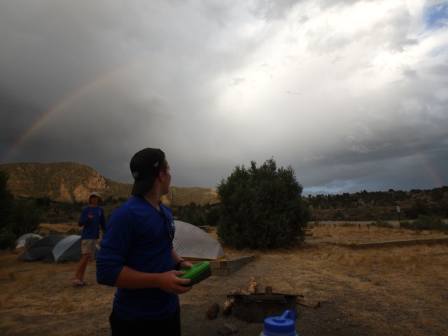 Relaxing under a rainbow on Upper Colorado River Multiday trip
