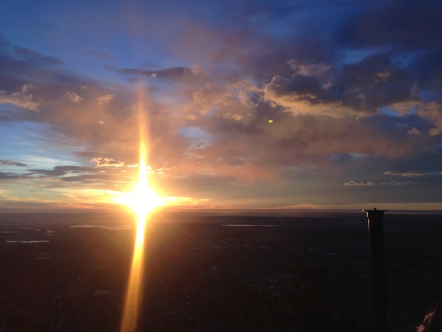 Sunrise over the top of Mt Sanitas in Boulder Colorado