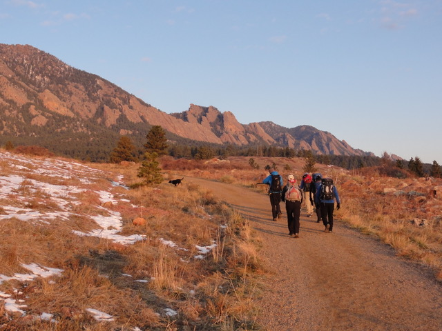 Sunrise on way to scramble Boulder Skyline Traverse Colorado Wilderness Rides And Guides