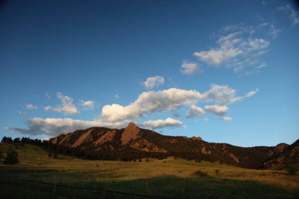 Boulder Flatirons from Downtown Boulder colorado