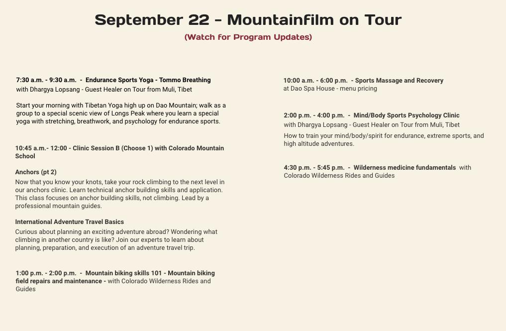 Mountain Film Schedule September 22 2019