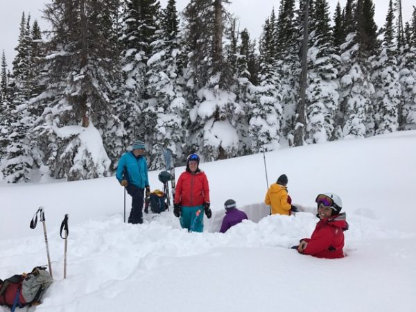 group in deep snow learning about snow and avalanches
