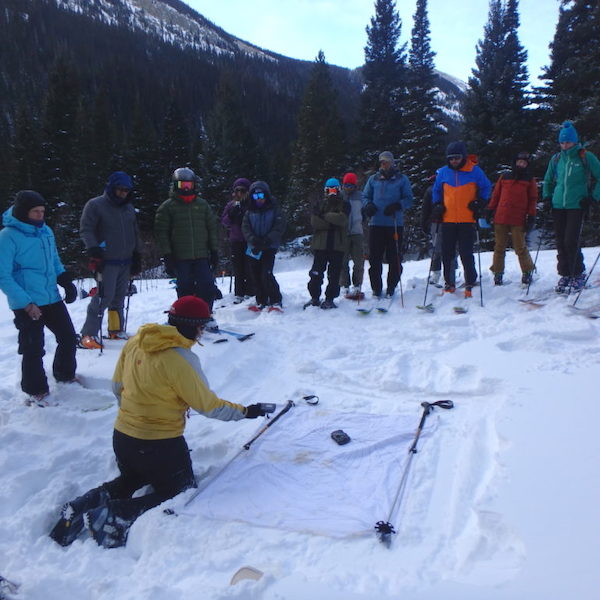 bundled up group on skis learning about snow and avalanche rescue