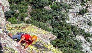 guide Bernardo Beteta rock climbing lichen covered rocks