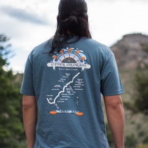 back of a tee shirt with a map of upper colorado river and rapids