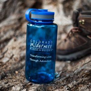 branded blue plastic water bottle