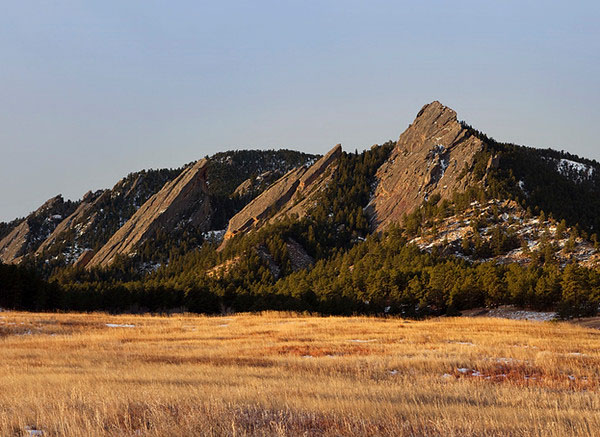 Flatirons in Boulder Colorado with a dusting of snow