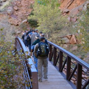 group crossing a bridge on a rocky hiking trail