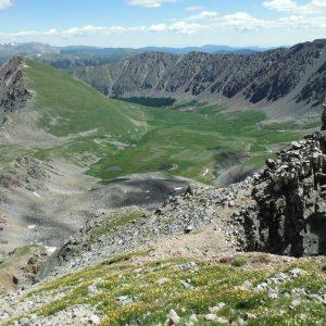 high mountain peaks looking down landscape