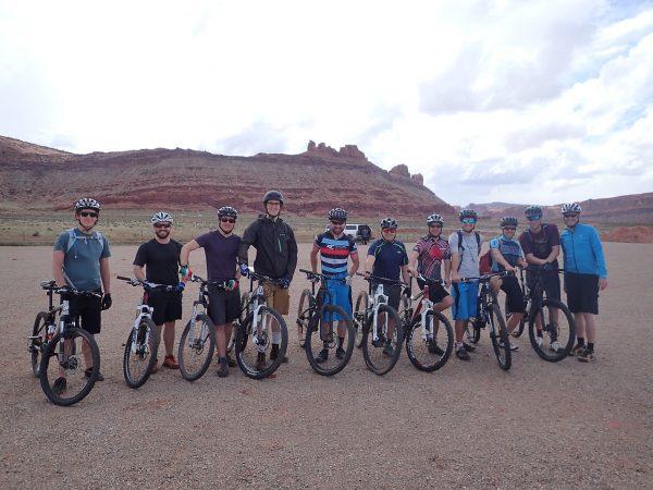 group shot of mountain bikers in Utah