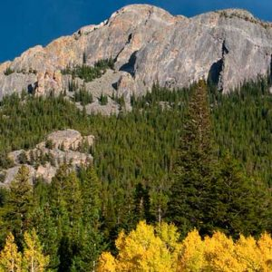 landscape of a mountain ridge with fall foliage