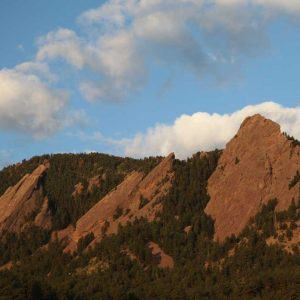 view of the flatirons in boulder, colorado