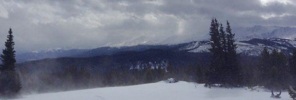 snowy mountain top landscape shot