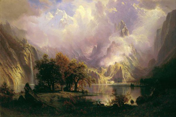 Albert Bierstadt painting of a rocky mountain landscape